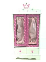 "White Wood Pink Fabric Top Crown Tiara Armoire Wardrobe Closet 18"" Doll ... - $34.60"