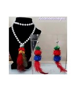 Pearl feathered fashion necklace and earring set - $10.00