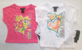 Baby Phat Girls T-Shirts White Pink with Hearts and Flowers Sizes 2T 3T ... - $11.89