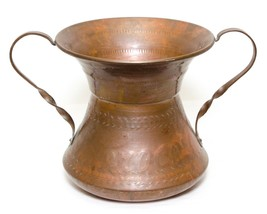 Hammered Copper 2 Handle Planter Vase Magliano Italy Vintage - $24.72