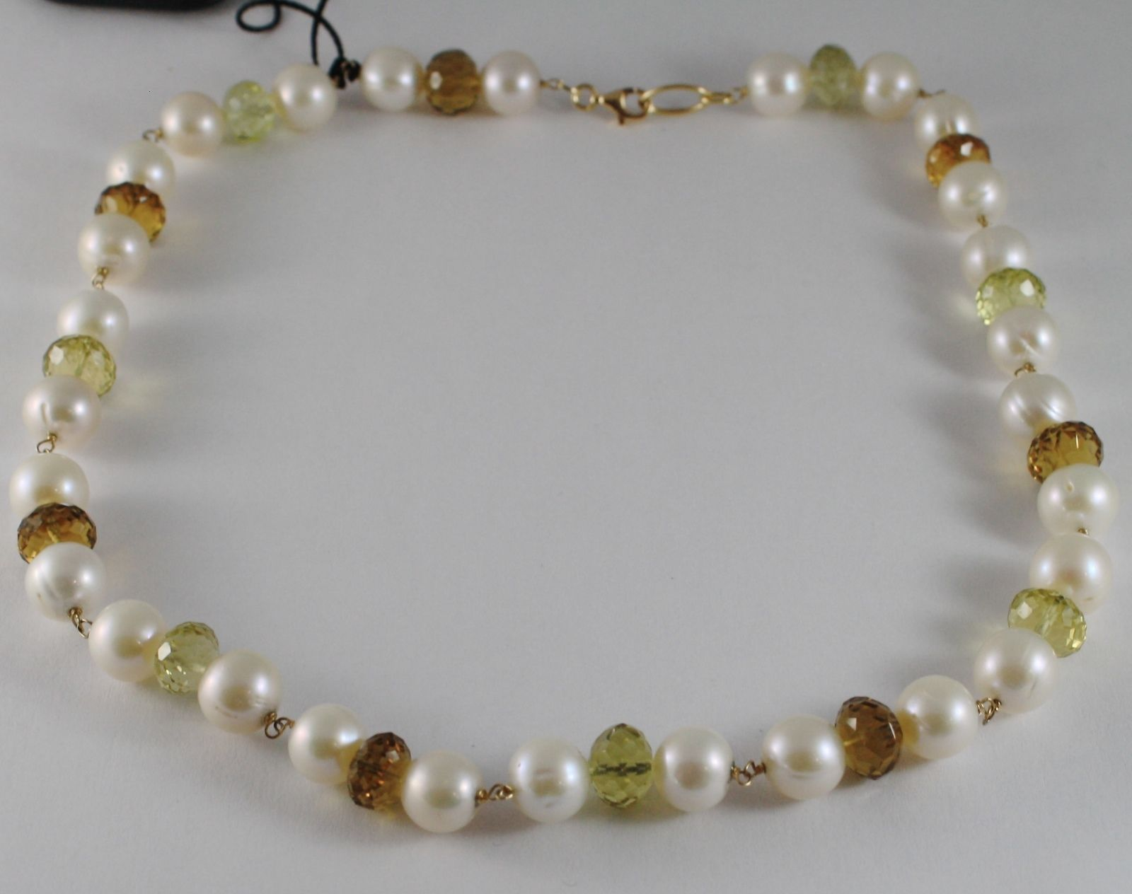 18K YELLOW GOLD NECKLACE WHITE PEARLS CUSHION BEER BROWN LEMON QUARTZ ITALY MADE