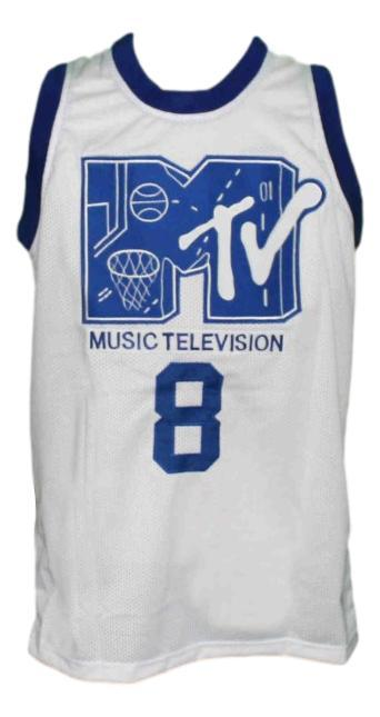 Steve urkel  8 mtv rock n jock new men basketball jersey white   1