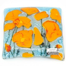 Fused Art Glass Orange Poppies Flower Design Square Soap Dish Handmade Ecuador image 2