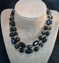 Trifari Double Strand Faceted Crystal Beaded Necklace 17 Statement Jewelry - $15.00