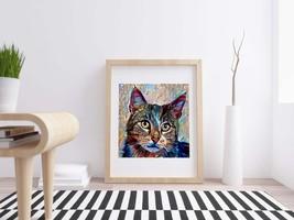 Cat Printable Pet Portrait, Cat Poster Download, Cat Lover Print, Wild C... - $4.20