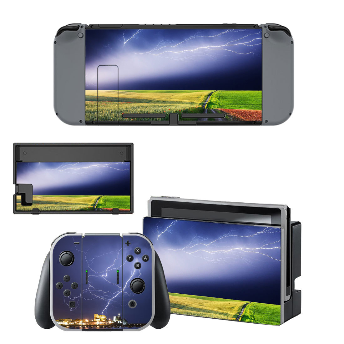 Lightning sky with nature view decal for Nintendo switch console sticker skin