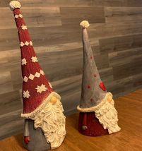 "Santa Gnomes Scandinavian Design Set of 2 White Beard & Tall Pointed Hat 10"" 12"" image 3"