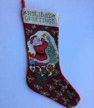 "Holiday Greetings Santa Christmas Stocking Needlepoint 21"" Tree Teddy Be... - $24.72"