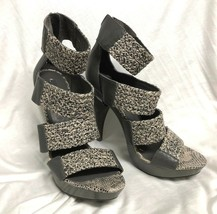 Bcbg Maxazria Zapatos Sandalias Gris Tacón Tiras Serpiente 9/39 - $35.23