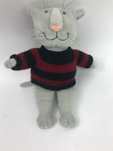 Gund Edward Gorey 43143 Gray Kitty Cat in Red & Blue Sweater Plush Toy D... - $96.74