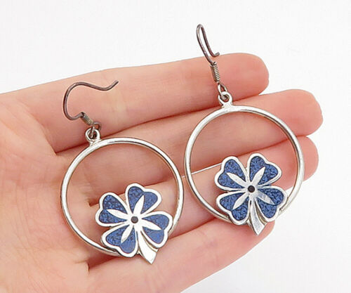 Primary image for CASTELANA MEXICO 925 Silver - Vintage Turquoise Clover Dangle Earrings - E9308