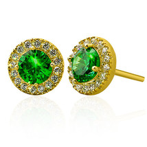 2.39CT 925 Silver 14K Yellow Gold Plated Round Halo Emerald Stud Earrings  - $43.54