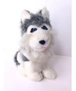 Husky Siberian Dog Puppy Plush Stuffed Animal Toy Doll Blue Eyes 12in Gr... - $26.13