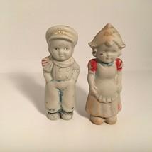 Vintage Dutch Boy Girl Figurine Ceramic Bisque Hand Painted  Made in Jap... - $14.60