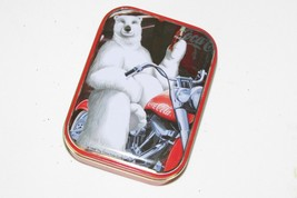 """COCA COLA bear on motorcycle Tin Box Co 1998 on lid 4.25 x 3.25 x 1.25"""" approx - $5.90"""