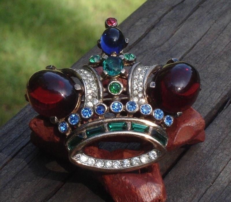 Vintage Crown Trifari Sterling Crown Brooch, Alfred Philippe, Jelly, PAT 137542