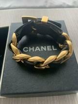 CHANEL Leather Chain Gold Bangle Bracelet Black Logo With Box Vintage Fr... - $734.00