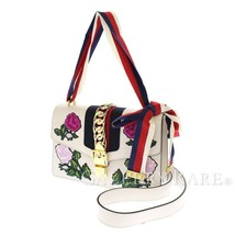 GUCCI Sylvie Embroidered Leather Off-White 421882 Shoulder Bag Authentic... - $1,660.52