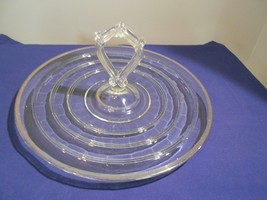 Anchor Hocking Banded Rings Platinum Center Handle Tray Depression Glass - $21.99
