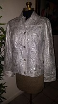 Chico's silver metalic button down jacket windbraker floral embroiled Si... - $24.28