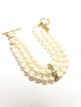3 Strand Faux Pearl Bracelet Vintage with Rhinestones Wedding Bride - $17.99
