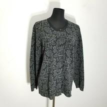 Talbots Womens Sweater Size L Intarsia Merino Wool Knit Cardigan Placket... - $24.18
