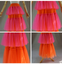 Womens Tiered Party Tulle Skirt Orange Pink Layered Mesh Tulle Party Prom Skirt image 6