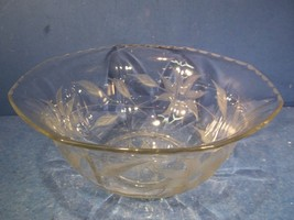 CLEAR GLASS BOWL WITH ETCHED FLORAL DESIGN - $19.99