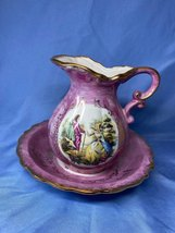 Vintage Lusterware Victorian Collector Porcelain Purple Wash Basin And P... - $21.99