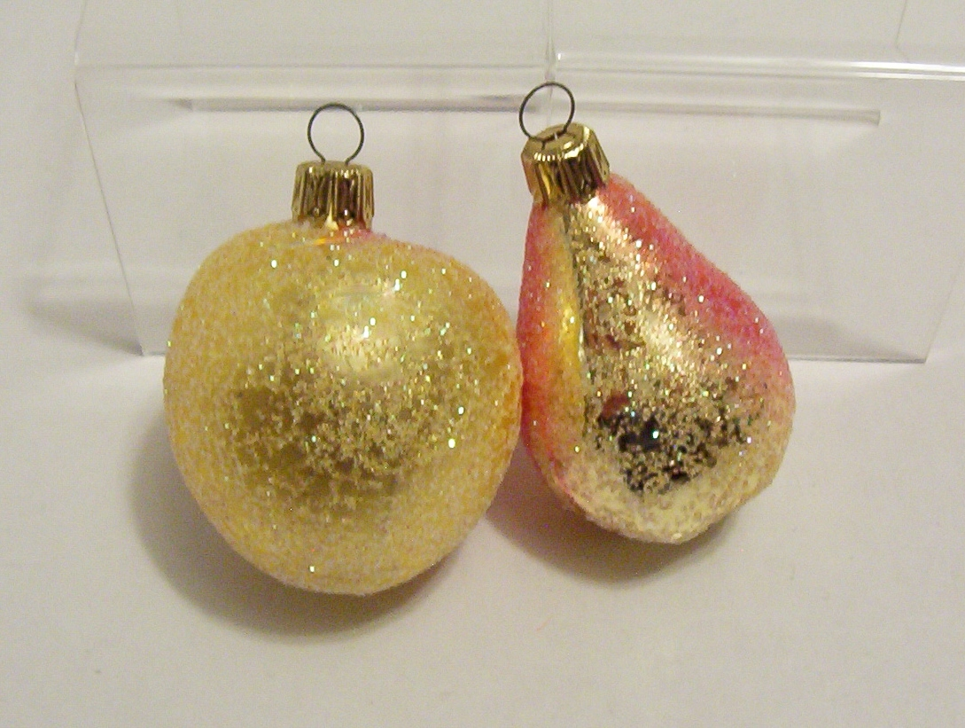 Primary image for 2 Christmas Ornaments Peach Pear Yellow Red Sparkly 1990s