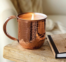 Thymes Simmered Cider Hammered Accents Reusable Copper Cup Candle 10oz