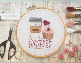 Coffee and cake cross stitch kit, coffee lovers gift, embroidery pattern... - $25.00