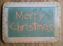 VINTAGE HALLMARK GREETINGS CARD ~ MERRY CHRISTMAS ~ CHALKBOARD ~ SPONGE ... - $3.70