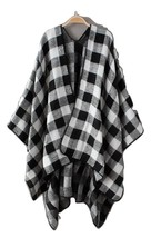 Dressromantic Women's Autumn Winter Bat Ponchoes Black&White Plaid Long Capes