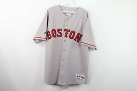 Majestic Mens Large Stitched Boston Red Sox MLB Baseball Jersey Gray Polyester - $80.14