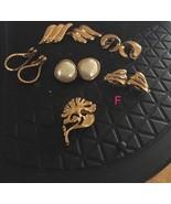 Vintage MONET Clip Earrings - Mother Of Pearl Earrings & Gold Tone Pin &... - $17.82