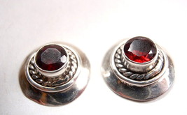 Natural Faceted Garnet 925 Sterling Silver Stud Earrings New - $28.08