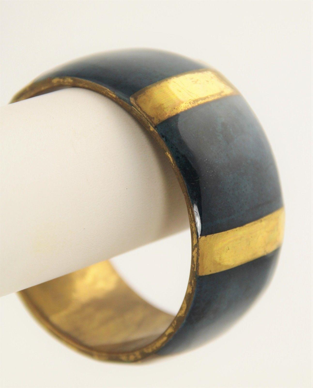 "7"" VINTAGE Jewelry BRASS AND BLUE SPONGE CORAL BANGLE BRACELET BOHO CHIC"