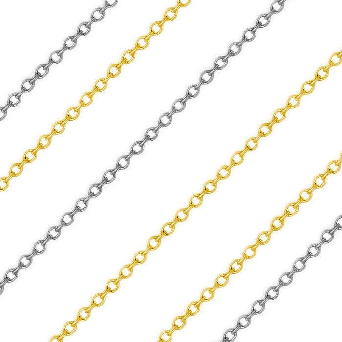 1.17mm 14k Solid Yellow Or White Gold Thin Cable Link Italian Chain Necklace1133