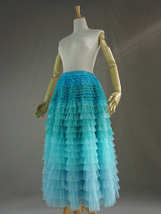 Navy Blue Tiered Tulle Skirt Layered Tulle Midi Skirt Outfit US0-US28 image 5