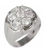 MENS DIAMOND CLUSTER RING BRILLIANT ROUND CUT  2.5 CARAT 7 STONE 14KT WH... - $4,747.05