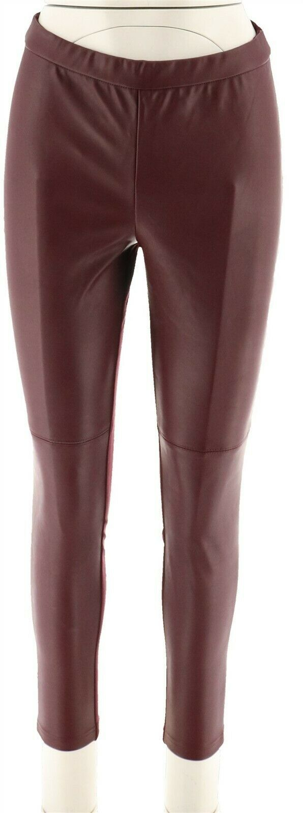 Primary image for H Halston Faux Stretch Leather Ponte Pull On Leggings Bordeaux 2 NEW A294046