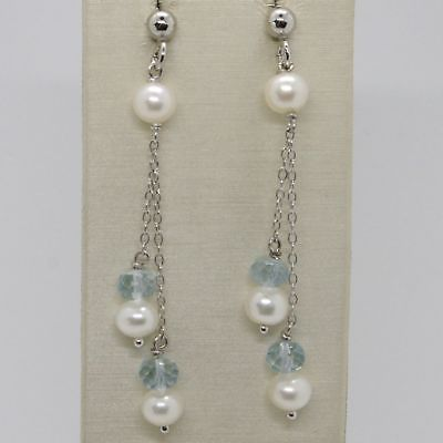 EARRINGS SILVER 925 RHODIUM PLATED WITH AQUAMARINE AND PEARLS WHITE