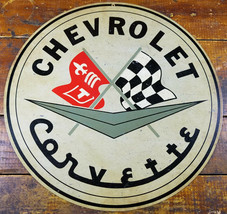 "Chevrolet Corvette Fleur De Lis Checkered Flag 14"" Round Heavy Duty Metal Sign - $35.96"