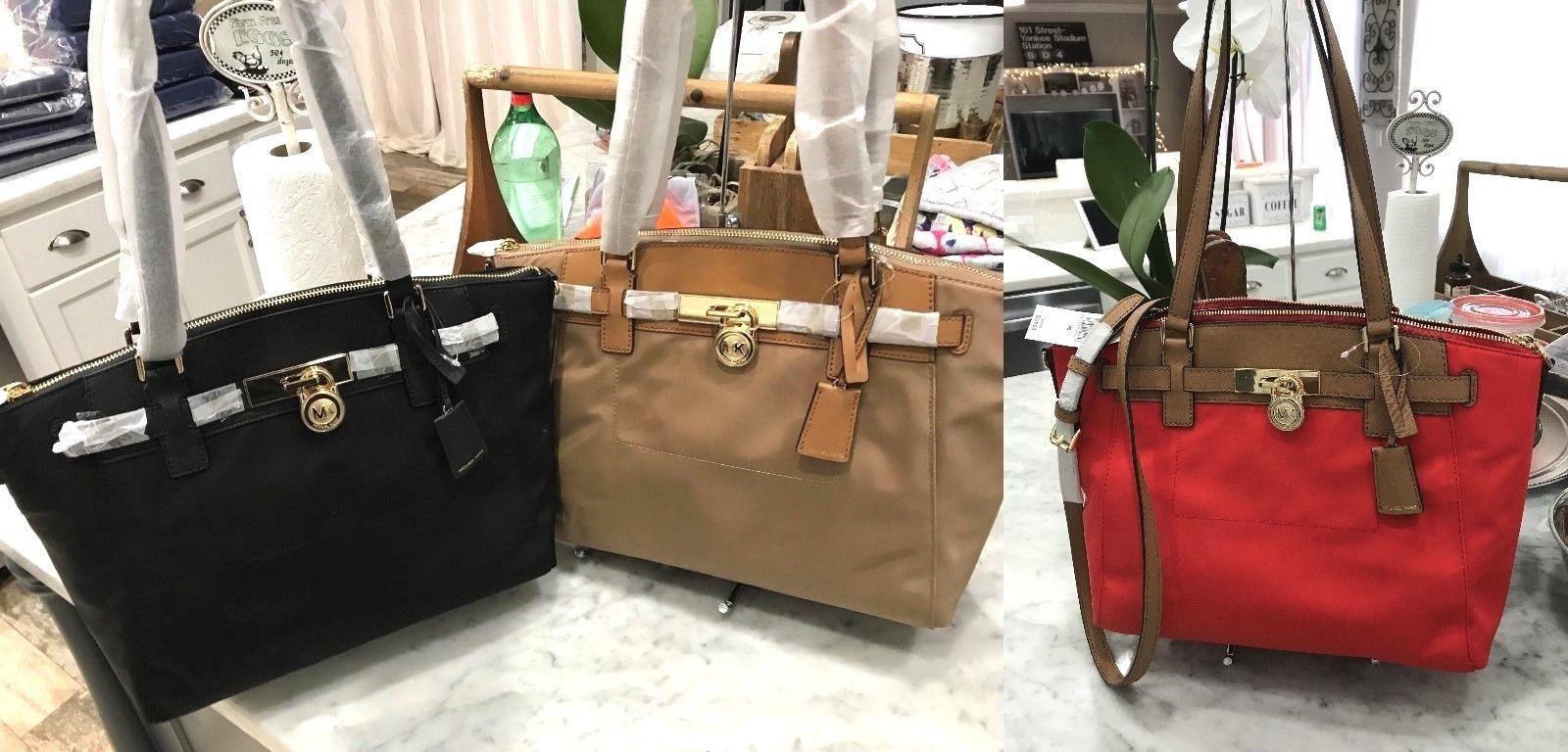 bece81eef54d0c S l1600. S l1600. Previous. Michael Kors Hamilton Traveler Large Nylon &  Leather Convertible Top Zip Satchel