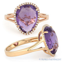 3.87ct Checkerboard Amethyst Round Diamond Halo Right-Hand Ring in 14k R... - £370.30 GBP