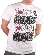 Young & Reckless Uomo Bianco Nero & Rosso Bolle T-Shirt Nwt