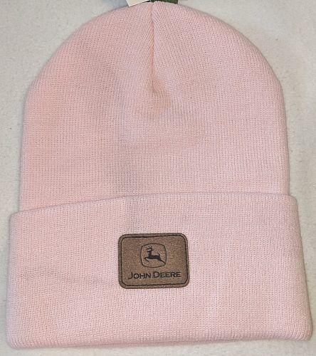 John Deere LP39985 Light Pink Acrylic Cuffed Beanie With John Deere Logo
