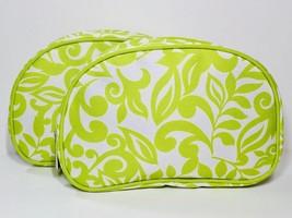 2pc Clinique Makeup Bags Green & White Floral - $7.98