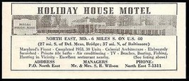 Holiday House Motel Ad North East Maryland AC TV 1954 Roadside Photo Ad ... - $10.99